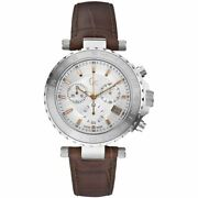 Guess Gc Silver Tone,rose Gold Accent,croc Brown Leather Band Watch X58005g1s