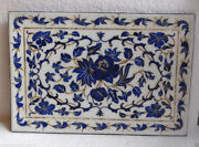 15x10 Rectangular Marble Serving Tray Lapis Lazuli Inlay Floral Home Gifts