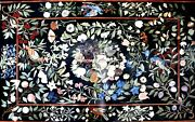 Marble Dining Intricate Top Table Semi Precious Inlay Collectible Decorate H5618