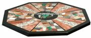 Natural Gemstone Inlaid Marble Antique Coffee Dining Table Top Home Decor H4713