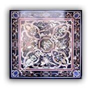 36 Marble Black Dining Table Top Mosaic Inlay Work Home Decoratives E1047a
