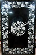 4'x2' Marble Black Table Tops Beautiful Mother Of Pearl Fine Floral Inlaid E543
