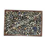 4and039x3and039 Black Marble Dining Table Top Collectible Multi Inlay Home Decor E1005a