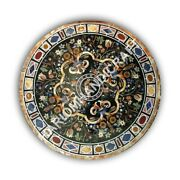 42 Marble Round Mosaic Dining Table Top Precious Stones Inlay Home Decor E1084a
