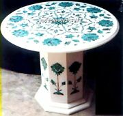 24and039and039 Marble Table Malachite Floral With Stand Inlay Art Hallway Rare Decor H4770