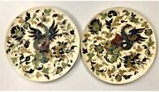 Large Asian Porcelain Hand Painted Charger Plates Ready To Hang