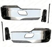 Qsc Chrome Steel Bumper Corner Left And Right Pair W/ Brackets For Kenworth T680