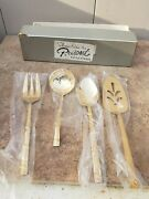 Borneo Stainless By Present Gold 4 Serving Pieces Never Used Free Ship