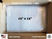 12x15 Clear Poly Bags Lay-flat Open Top End 1-mil Ml Case Ldpe Plastic T-shirt