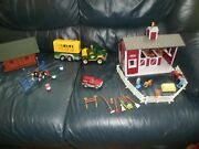 Breyer Horse Stablemates Barn And Accessory + Log Cabin,jeep, Trailer,horses,fence