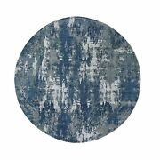 10and039x10and039 Blue Abstract Design Wool And Pure Silk Hand Knotted Round Rug R48504