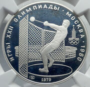 1979 Moscow 1980 Russia Olympics Hammer Throw Genuine Silver 5r Coin Ngc I82062