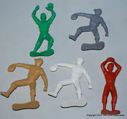 5 Different Vintage Plastic Baseball Players Pitcher, Outfielder 6 Inches