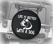 Spare Tire Cover Life Is Better Dog Boxer Pug Boston Terrier Auto Accessories