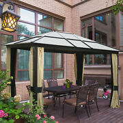12and039x10and039 Outdoor Patio Canopy Party Gazebo Shelter Hardtop W/ Mesh And Curtains