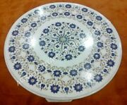 30 White Marle Coffee Bedroom Table Top Lapis Lazuli Floral Inlay Decor E1054