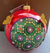 """Jay Strongwater Pattern And Butterfly 4"""" Glass Ball Ornament Nib"""