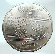1975 Canada Queen Elizabeth Ii Olympics Montreal Rings Silver 10 Coin I82138