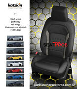 Leather Seat Covers 16-21 Chevrolet Camaro Coupe Convertible Black Gray Silver