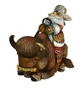 Magnificent Russian Santa Hand Carved And Painted Riding A Bison 0978