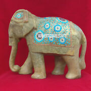 12and039and039 Marble Inlaid Elephant Figurine Turquoise Pietra Dura Marquetry Decor H3763