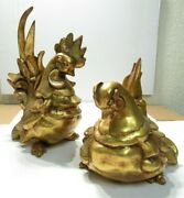 Pair Freeman Mcfarlin Pottery Gold Hen And Rooster K. Finch