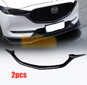 Glossy Black For 2017-2020 Mazda Cx-5 Front Grill Barbecue Side Strip Cover Trim