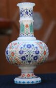 Antique Marble Flower Jar Fine Semi Mosaic Inlay Marquetry Collectible Art H1958