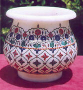 7 Traditional Splendid Marble Flower Pot Antique Design Inlay Giving Gift Decor