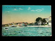 C.1910 Marine Gas Station Boathouse Dock Shore From Bay Watch Hill Ri Post Card