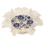 12x12and039and039x5and039and039 Marble Dry Fruit Bowl Lapis Lazuli Stone Inlay Art Home Decor H3639