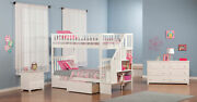 Woodland Staircase Bunk Bed Twin Over Twin With Flat Panel Bed Drawers In Ant...