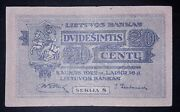 Andbulllithuanian 20 Cent Banknote 1922 Year Normal Condition