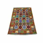 3and0396x4and0399 Elephant Feet Design Hand Made Wool Colorful Afghan Tribal Rug R53178