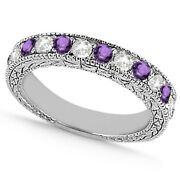 1.05ct Antique Real Diamond And Amethyst Wedding Ring 14k White Gold Gh/vs