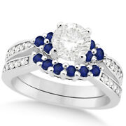 Womenand039s Floral Diamond And Blue Sapphire Bridal Set In 14k White Gold 1.00ct