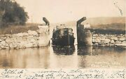 1907 Rppc Boat Entering Morris Canal Lock From Lake Hopatcong Nj
