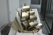 French Art Deco C1920and039s Style Bagues Aluminum Sails /wood Framed Ship Desk Lamp
