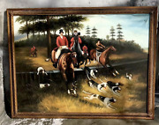 Beautiful 52.5andrdquox40.5andrdquo Framed Oil Painting English Men Horse Hunt Antique Style