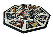 Black Dining Coffee Marble Top Cocktail Table Top Mosaic Inlaid Handmade Decor