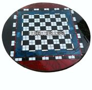 Round Marble Chess Coffee Top Table Precious Handmade Inlay Home Decor Art H4021