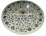 Marble Side Coffee Table Top Rare Inlay Pauashell Gem Mosaic Outdoor Decor H917