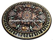 Black Marble Dining Round Table Top Mosaic Inlay Art Garden Party Decorate H3141