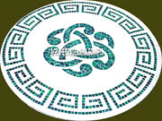 Marble Dining Top Table Malachite Inlaid Antique Art Occasional Home Decor H3956