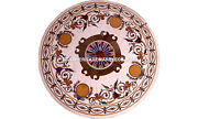 Round Marble Coffee Dining Table Marquetry Inlay Stones Outdoor Home Decor H5617
