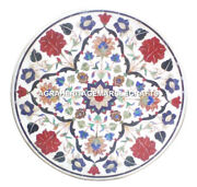 White Marble Round Center Table Top Carnelian Floral Inlay Pietraura Decor H2893