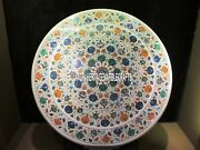 Marble White Coffee Top Table Multi Marquetry Inlay Floral Outdoor Decor H4034