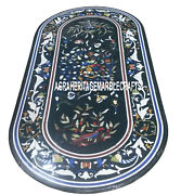 Black Marble Decorative Marquetry Dining Table Rare Stone Inlay Decor Art H3308