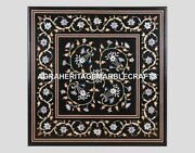 Black Marble Square Coffee Dining Side Top Table Mosaic Inlay Patio Decor H4422