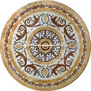 Cafeteria Marble Dining Table Stunning Mosaic Arts Inlay Work Garden Decor H5336